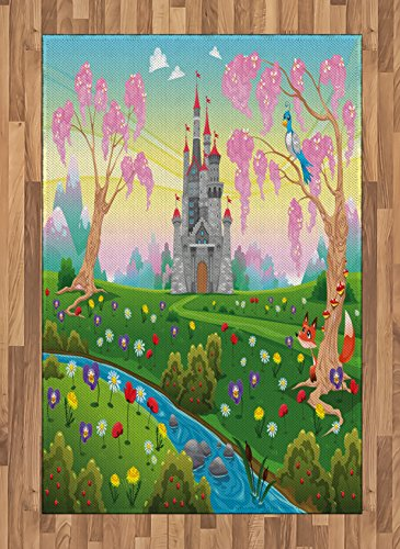 Lunarable Cartoon Area Rug, Fairy Tale Castle Scenery in Floral Garden Princess Kids Girls Fantasy Picture, Flat Woven Accent Rug for Living Room Bedroom Dining Room, 4 X 5.7 FT, Multicolor