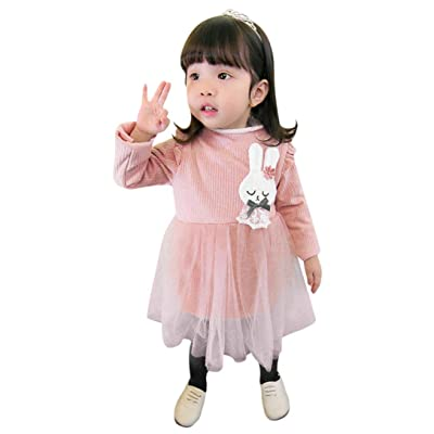 iumei Little Girl Bunny Print Long Sleeve Patchwork Gauze Princess Dress Mini Tutu Skirt