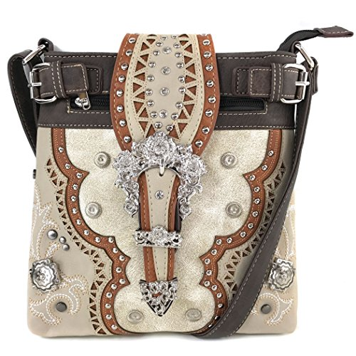 (Justin West Concealed Carry Western Silver Flower Buckle Laser Cut Embroidered Triple Layer Studded Crossbody Messenger | Trifold Wallet (Beige Messenger ONLY))