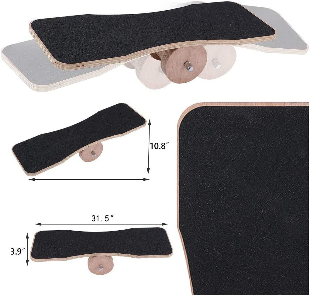 Yoga for Surf Fitness for Surf Skate Core Workout Yeavail Balance Board for Exercise Balance Training Equipment with Anti-slip Strips Snowboard Training【UK in Stock】