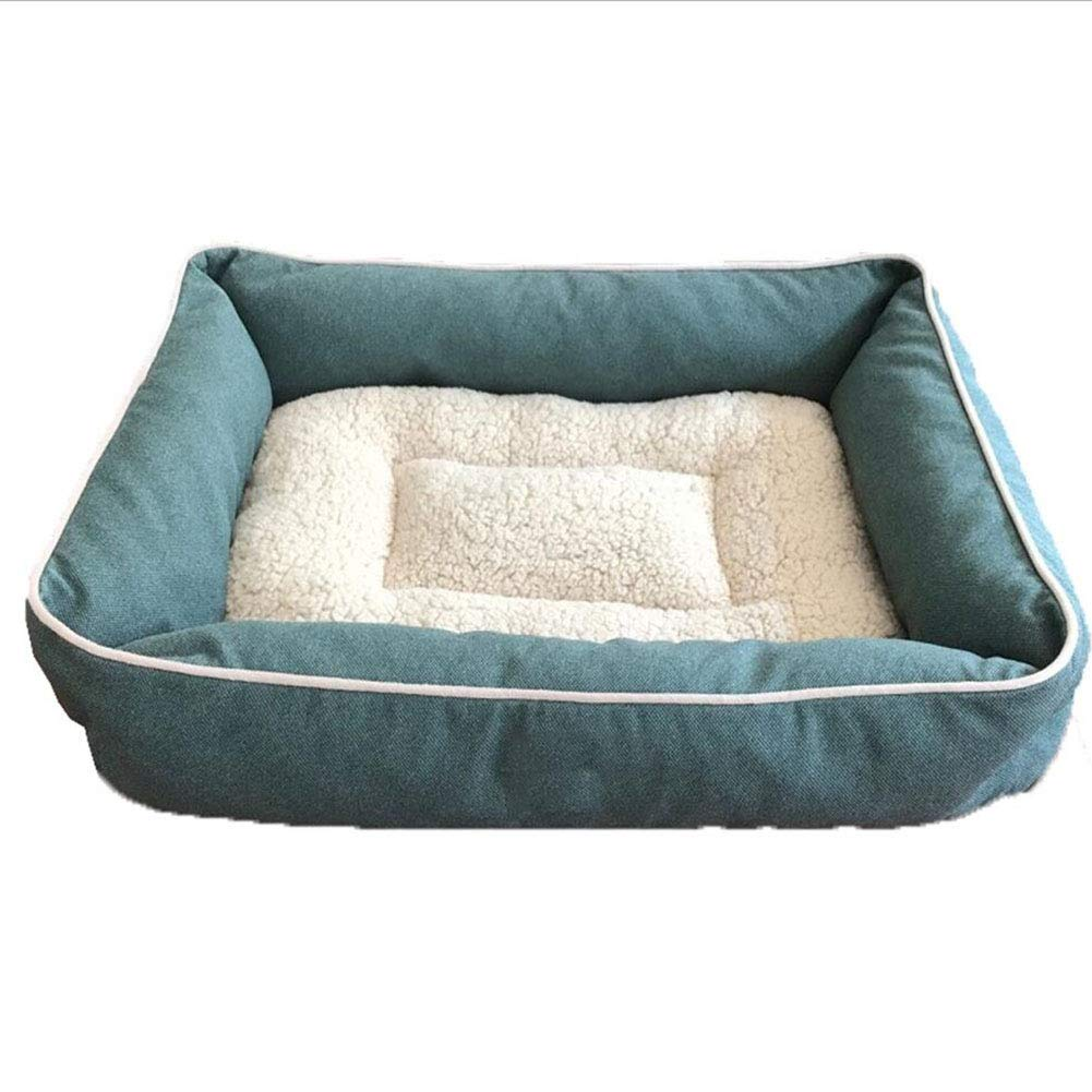 bluee Large bluee Large Cat Nest Pet Bed Cat Kennel Pet Sofa Pet Nest Dog Nest Kennel Square Thick Washable Autumn and Winter Haiming (color   bluee, Size   L)