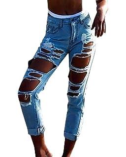 VENMO Destroyed Jeanshose Mittlere Taille Jeans Frauen lässig Blaue ... d93112ddaa