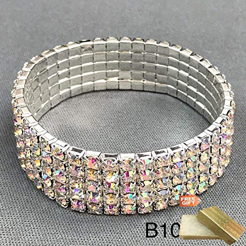 5 Row Rhodium Silver Paved AB Color Rhinestones Stretchable Bangle Fashion Jewelry Bracelet For Women + Gold Cotton Filled Gift Box for Free