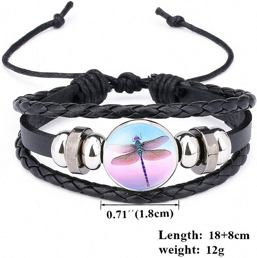 Giwotu Womens Pretty Cute Dragonfly Crystal Cabochon Black Leather Bracelet Women Girls Multi-Layer Punk Bangle Men Fashion Jewelry