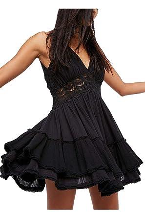 fe17e59090b Women Casual Lace Dresses Slip Deep V Neck Backless Mini A Line Dress Black  S