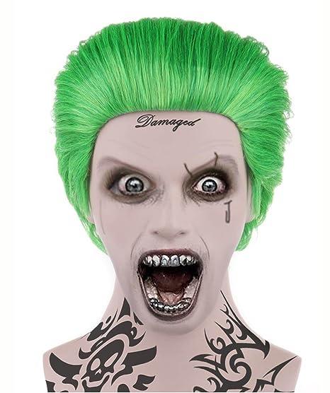 Joker estilo verde disfraz peluca malvada adultos tamaño hm-045