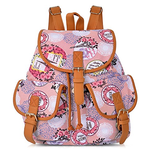 Impressions Book (Vbiger Canvas Backpack for Women & Girls Boys Casual Book Bag Sports Daypack (Pink Impression))