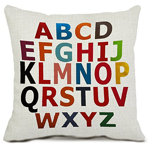 26 Letters Decorative Throw Pillow Covers Cotton Linen Square Cushion Covers Alphabet 26 Letters Pillowcases for Sofa Couch Home Decor 18 x 18 ()