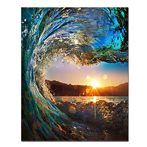 BOSHUN Wooden Framed Paint by Numbers Kits with Brushes and Acrylic Pigment DIY Canvas Painting for Adults Beginner- Sunset Seascape 16 x 20 inch