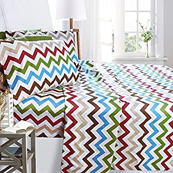 Clara Clark Printed Bed Sheet Set, King Size   Zig Zag   By, 6