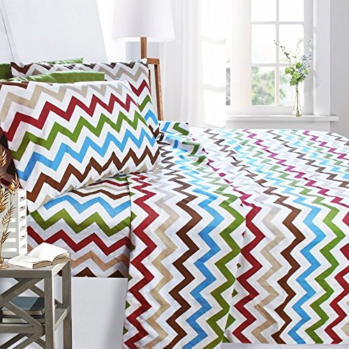 Printed Bed Sheet Set, Queen Size - Zig Zag - By Clara Clark