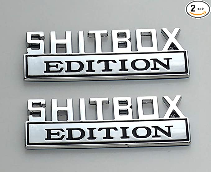 Chrome Red 1Pc Metal Shitbox Edition CAR EMBLEM Badge 3D Sticker Decal Compatible with F-150 F250 F350 Silverado 1500 2500 3500