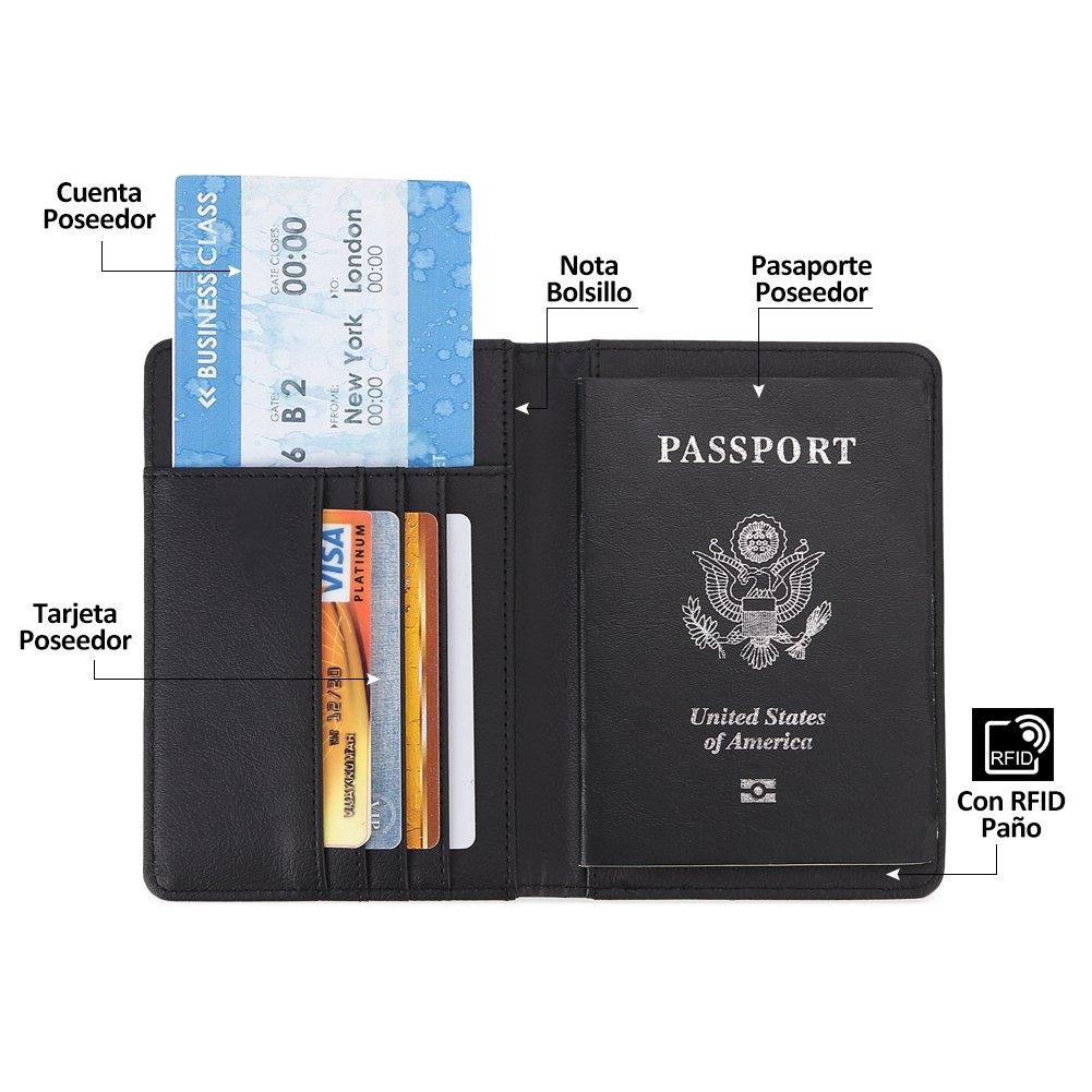 Teemzone Passport Holder RFID Blocking Travel Wallet Case para hombres y mujeres