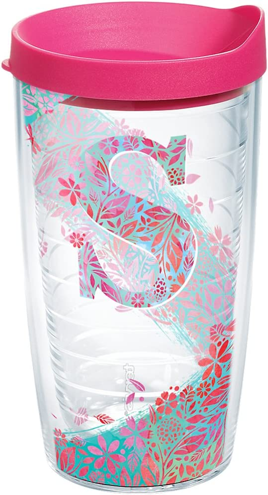 Clear Tervis 1181470 Flamingo Pattern Insulated Tumbler with Wrap and Fuschia Lid 16oz