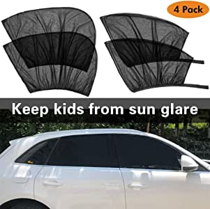 Car Window Sun Shade (4 Packs), Tinpec Universal Car Side Sunshades Mesh Shield, Protect Baby Kids Pets from Sun's Glare and UV Rays- 2 Pack for Front Window and 2 Pack for Back Window