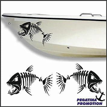 2 x böser Skelett Fische Gräte Typ 1 Aufkleber aus ...