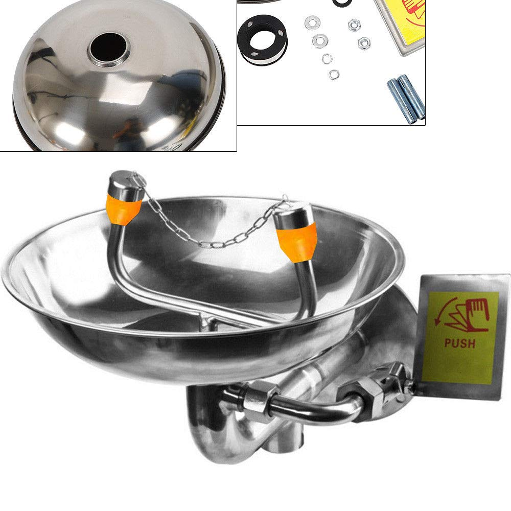 304 Stainless Steel Bowl Emergency Eye Wash Stations Wall Mounted Eye Washer Safe 0.4MPA