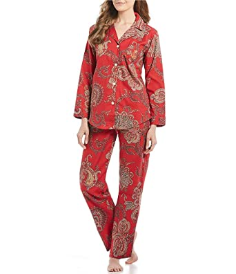 e69e1bc4da Lauren Ralph Lauren Womens Woven Notched Collar Long Pajama Set at Amazon  Women s Clothing store