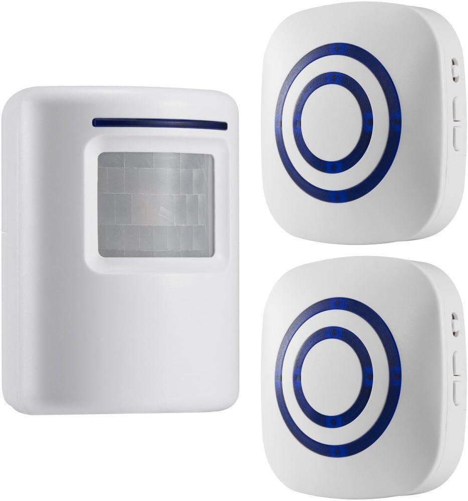 GZCRDZ inalámbrico entrada alerta: Sensor de movimiento por infrarrojos timbre alarma timbre inalámbrico con 1 Sensor y 2 receptor - timbre canciones - Indicadores LED