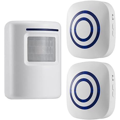 GZCRDZ inalámbrico entrada alerta: Sensor de movimiento por infrarrojos timbre alarma timbre inalámbrico con 1 Sensor y 2 receptor - timbre canciones ...