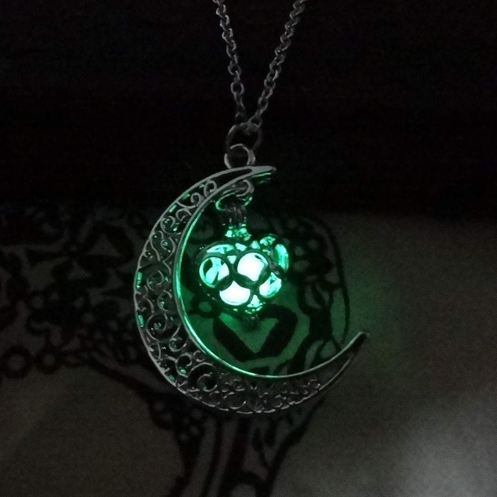 Toponly Moon Pendant Necklace Glow Luminous Hollow with Ball Night Great Gift for Women Mom by Toponly (Image #3)
