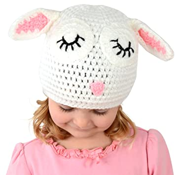 Amazon.com  Small Lamb Beanie - White Lamb Hat for Baby and Toddler.  Stretchable lamb beanie size 16 inches.  Baby 94c8c03e03b