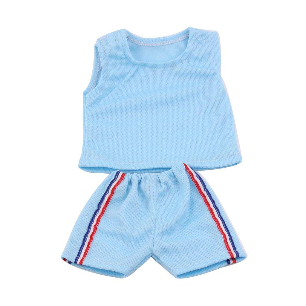 Homyl Mode Puppen Sommer Sportkleidung Trainingsanzug F/ür 18 Zoll weibliche Puppen Set Blau 2pcs