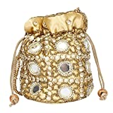 Traditional Satin Potli Bag with Round Mirror for Women & Girls - GOLDEN