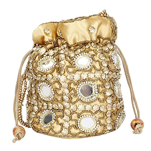 Traditional Satin Potli Bag with Round Mirror for Women & Girls - GOLDEN by Suman Handicraft