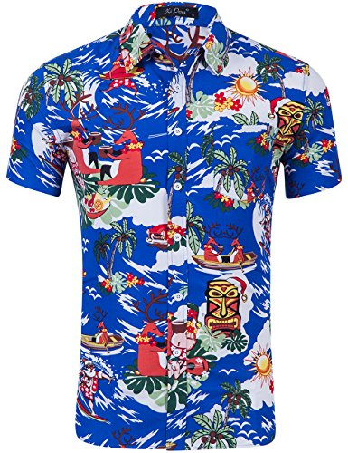 XI PENG Men's Tropical Short Sleeve Floral Print Beach Aloha Hawaiian Shirt (Christmas Santa Claus Royal Blue, XX-Large)]()