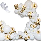120 PCS Balloon Arch Kit 5M Balloon Garland Kit with Gold White Balloon Confetti Balloon and Metallic Balloons for…