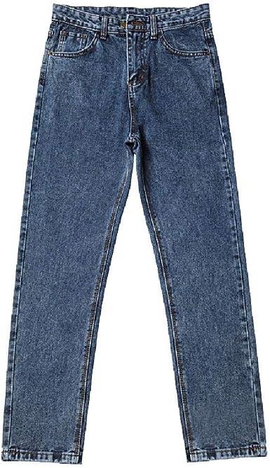 Skjkt Tubo Recto Con Pantalones De Franela Pantalones De Cintura Alta Retro Color Azul Gris Pantalones Vaqueros Sueltos Para Mujer Coreana Amazon Es Ropa Y Accesorios