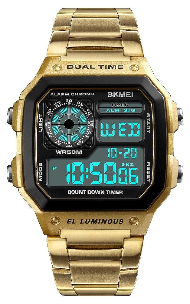 メンズ多機能長方形LED防水時計デュアル時間ゾーンカウントダウンスポーツクォーツストップウォッチ ゴールド B07CKCK9VZ  ゴールド -