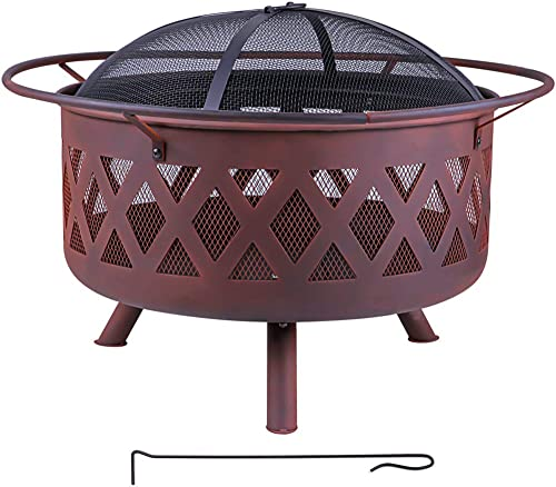 Wostore 30 Inch Outdoor Fire Pit Large Bon Iron Patio Backyard Firepit