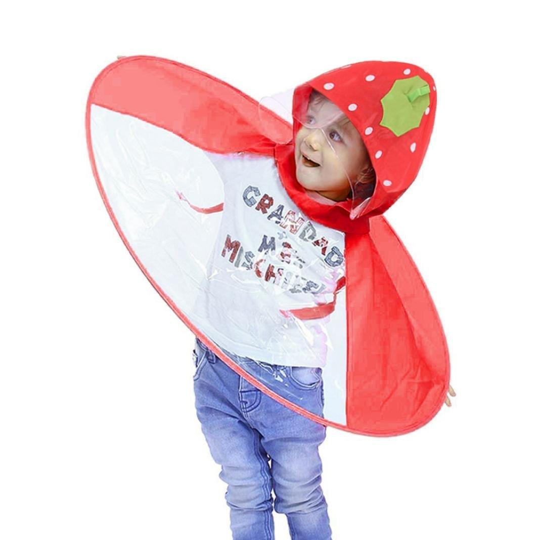 PIKAqiu33 Kids Raincoat Cartoon Raincoat Packable Children's Hooded Poncho Cloak UFO Children Umbrella Hat Magical Hands Free