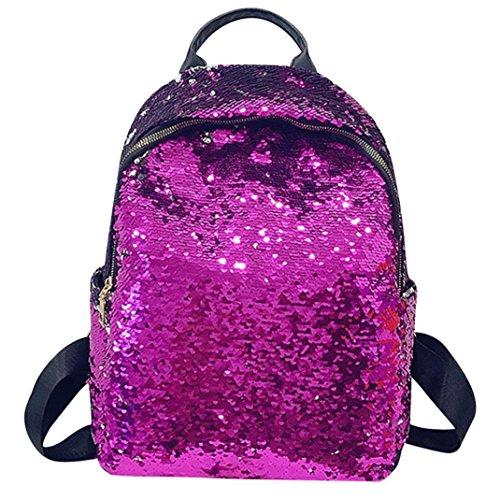 Shoulder School Jimmkey Womens Satchel Backpack Fashion Bag Bag Bag Handbags Purple Tote Bag Student Travel Travel Sequins Shoulder Travel School Girl Rucksack OnHrOqA