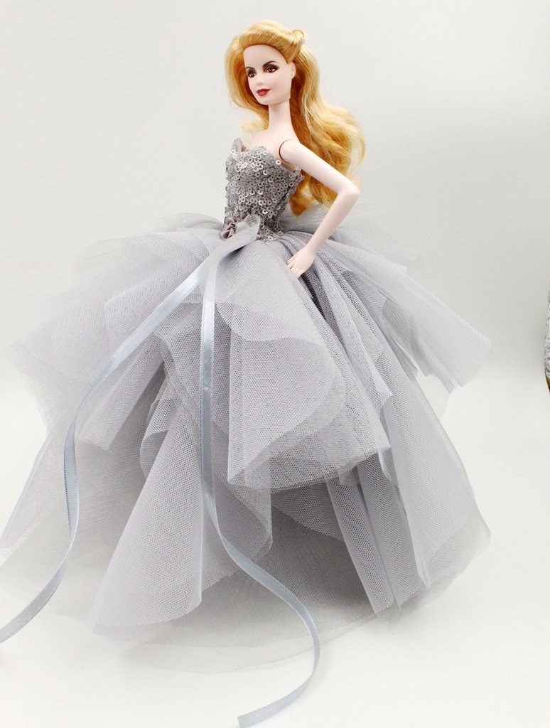 Amazon.com: Cora Gu Classic Sequin Gray Dress/Gowns For Barbie Doll ...