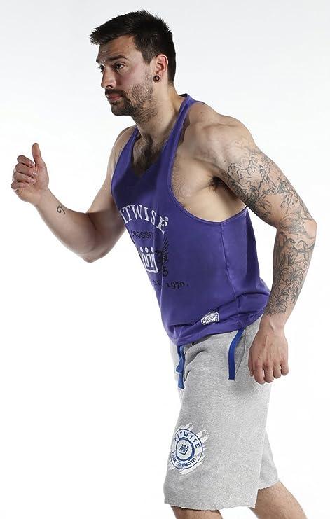 Fitwise chalecos de hombre 100% algodón camiseta de tirantes Verano formación gimnasio Tops Color Morado: Amazon.es: Deportes y aire libre
