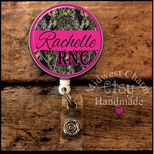 pink and camo..Retractable badge holder, nurse gift, ob, L& D, id holder, reel, RN, LPN, CNA Personalized Christmas Gift Midwest Charm