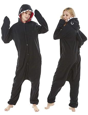 6e8f9f3bd2e Adult Shark Costume Pajamas Cosplay Animal One Piece Homewear Sleepwear for Women  Men Black