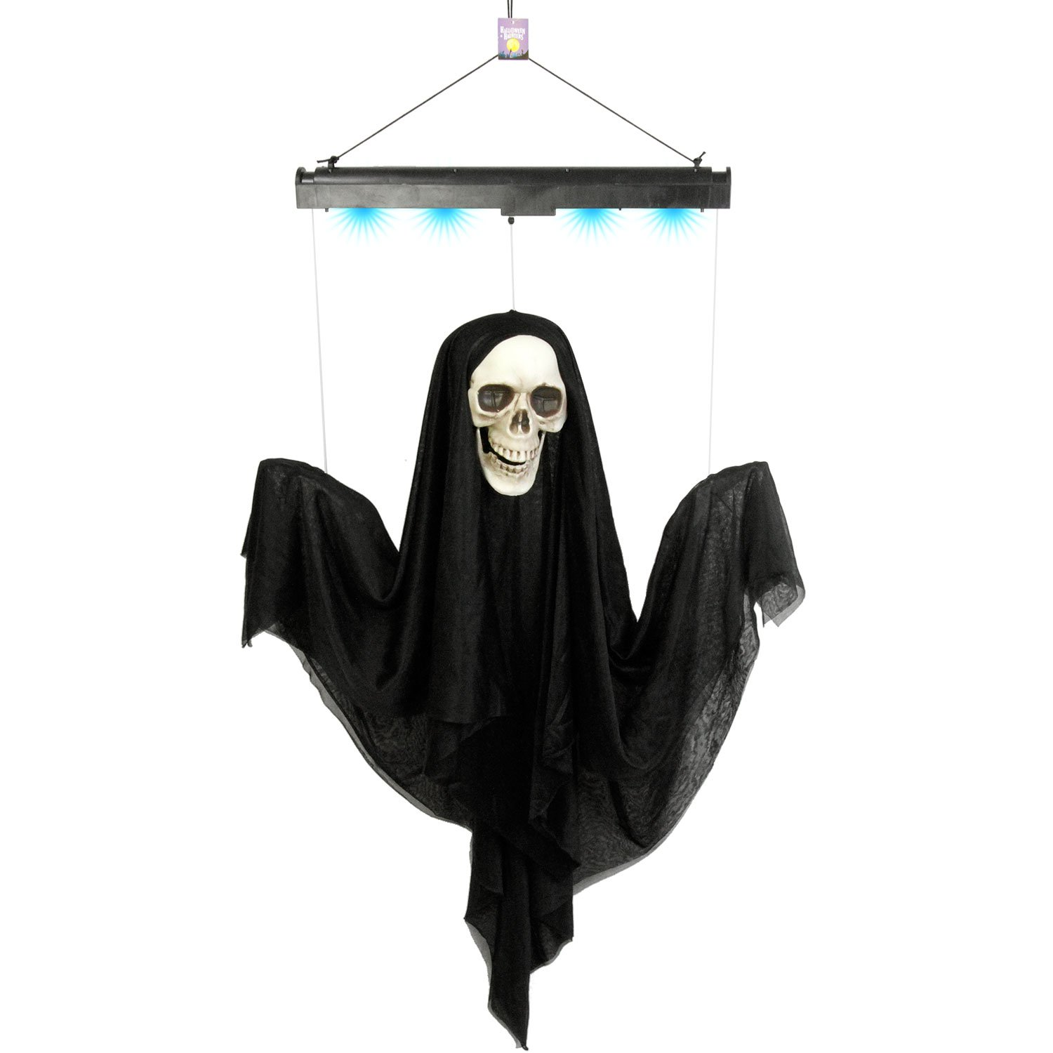 Halloween Haunters Animated 4 Foot Hanging Floating Scary Black Ghost Reaper Prop Decoration - Arms & Head Float Up & Down, Eerie Boos, Blue Lights - Battery Operated