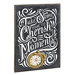 Cape Craftsmen Evergreen Burlap Cherish The Moment Wall Clock Canvas