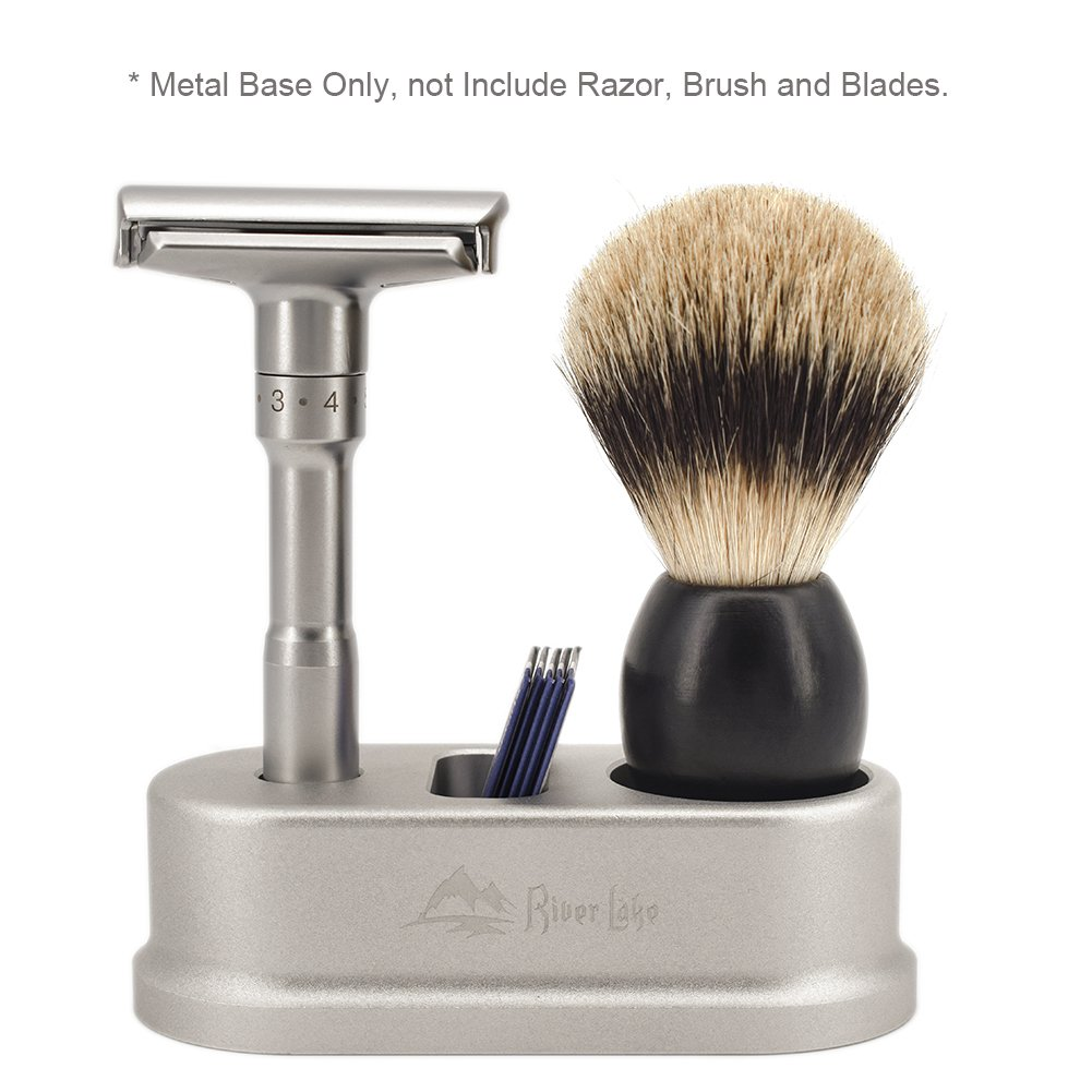 Razor and Brush Stand Blades with Blades storage, River Lake Men's Shaving Razor H2 Holder / Deluxe Modern Style / Aluminum Alloy Safety Razor Base Stand (Metal Base only)