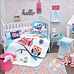 BABY GIRLS OWL CRIB BEDDING SET NURSERY 4 PCS for girls