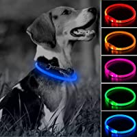 LED Dog Collar, USB Rechargeable Glow in The Dark Pet Collar, TPU DIY Light Up Doggy Collars for Small Medium Large Dogs…
