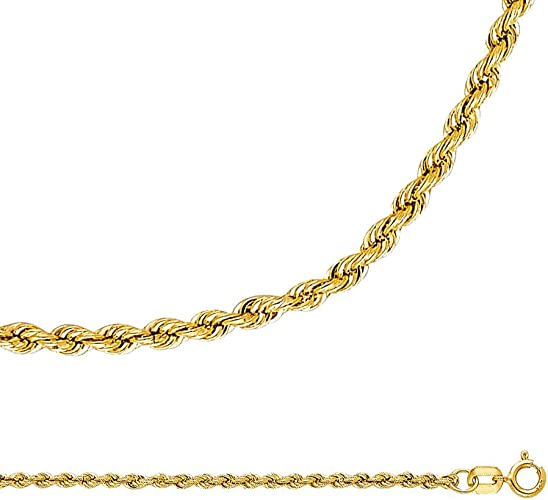 """Yellow Gold 2mm Twisted Necklace 16/""""-24/"""" 14k Rope Chain Solid White"""