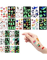 AIEX12 Arkuszy Tymczasowe Tatuaze,Swiecacy Mieszany Styl Kreskówka Tatuaz Jednorozec Panda Cyrk Dinozaur Przestrzen Podwodne Zwierzeta dla Dzieci Dekoracje Urodzinowe