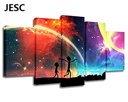 Jesc 5 Panels Canvas Rainbow Painting Poster Wall Art Canvas Art Modern Home Decor Picture For Living Room No Frame 30x50cmx2 30x70cmx2 30x80cmx1