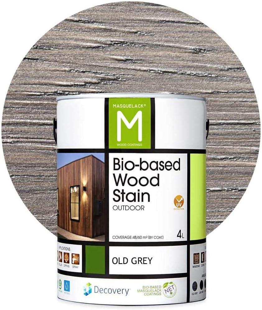 Barniz Madera Exterior   Bio-based Wood Stain   4 L   Barniz ecológico para todo tipo de madera   Lasur madera exterior   color Old Grey   Flexible y ...