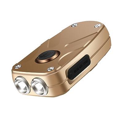 Porte-clés lampe de poche, Sgodde 350lumens rechargeable USB Keychain Light–6Mode lampe de poche de poche avec commande Fonction de l'argent, Noir, jaune